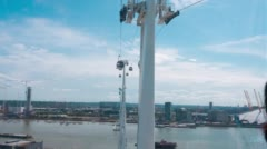 Cable car across Thames River. London City. Stock Footage