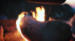 Wood burns in a campfire at night Stock Footage