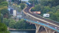 Bridge Dnieper in Kiev, Ukraine Stock Footage