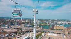 London skyline view from cable car Stock Footage