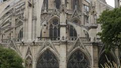 Details of Notre-Dame Cathedral facade  located in France capital Paris slow Stock Footage