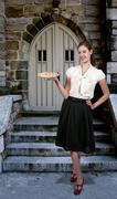 Woman with Pie - stock photo