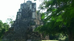 Muyil Chunyaxche ancient mayan pyramid temple Stock Footage