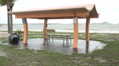Flooded Picnic Shelter At Beach Park 01 Stock Footage