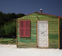 Green beach hut Kefalonia - stock photo