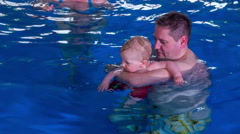 Baby want swim allone Stock Footage
