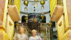 Panning shot of Entrance of the Edicule of the Holy Sepulchral time-lapse of Stock Footage
