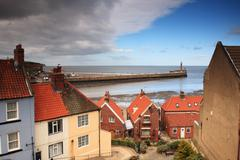 Looking down to Whitby Harbour - stock photo