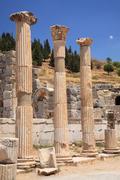 3 ancient columns Ephesus - stock photo