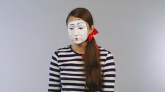 Woman mime with scissors cuts the credit card Stock Footage