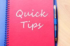 Quick tips text concept note Stock Photos
