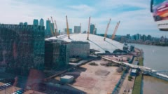 London, aerial view of O2 Arena and Thames Stock Footage