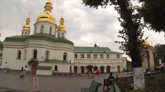 Tourists Visit the National Kyiv-Pechersk Historical and Cultural Preserve - stock footage