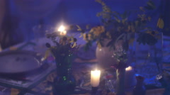 Candles night summer night flowers Stock Footage