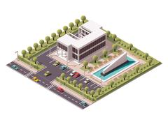 Vector isometric office building icon Stock Illustration
