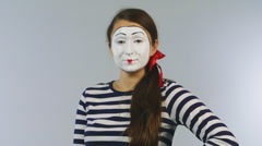 Woman mime shows fan of dollars. Concept: possible win Stock Footage