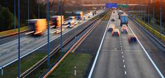 Controlled-access highway in Poznan, Poland.. - stock photo