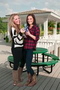 Women with Wine - stock photo