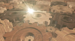 Looping Wooden Gears Stock Footage