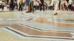 Masses of people walking on marble floor Stock Footage