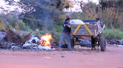 Homeless taking garbage, tramp, Brazil. Stock Footage