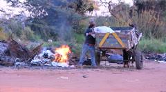 Homeless taking garbage, tramp, Brazil. - stock footage