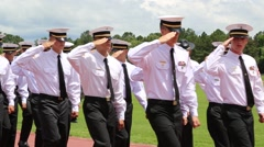 Alert Academy Students Salute and Pass in Parade Stock Footage