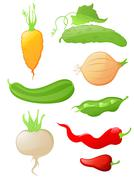 set of glossy vegetable icons - stock illustration