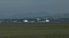 Barrow in Furness from Walney island - stock footage