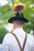 Backside of a bavarian man Stock Photos