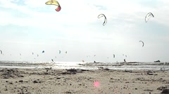Kitesurfing in St. Peter-Ording - Editorial only Stock Footage