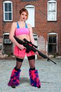 Woman Rave Rifle Girl - stock photo