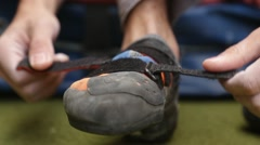 Detail of climbers shoe. Stock Footage