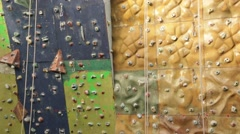 Detail of climbing wall. Extreme sport. - stock footage