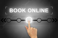 Hand clicking book online button on a screen interface Stock Illustration
