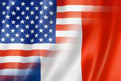 USA and France flag Stock Illustration