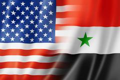 USA and Syria flag Stock Illustration