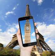 Eiffel Tower and Big Ben - stock photo