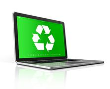 Laptop with a recycle symbol on screen. environmental conservation concept - stock illustration