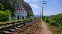 Railway in the mountains near St. Clement Monastery. Inkerman, Crimea. Stock Footage