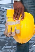 Black Man Construction Worker - stock photo