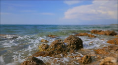 Sunny day on the rocky shore of the Black Sea. Soft blur the edges of the frame. Stock Footage
