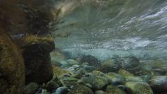 4K underwater shot in fast moving mountain stream Stock Footage