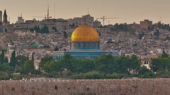 Time-lapse of the Dome of the Rock from the Mount of Olives. Cropped. Stock Footage