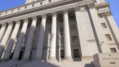 Thurgood Marshall United States Courthouse exterior building Manhattan NYC sunny Stock Footage