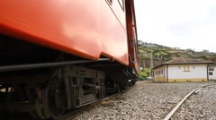 Trainwheels passing by Stock Footage