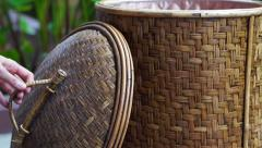 Video hand close rattan basket. Asian craft object Stock Footage