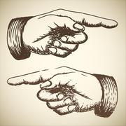 Vector retro Vintage pointing hand - stock illustration