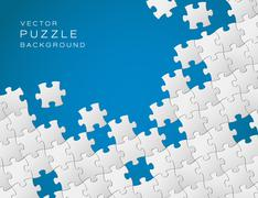 Vector blue background made from white puzzle pieces - stock illustration
