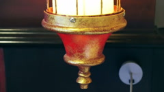 Oriental lantern with red and gold colour lamp design Stock Footage